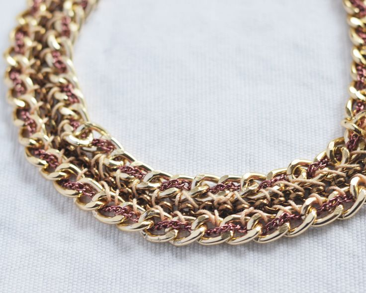 handmade golden and purple chain necklace