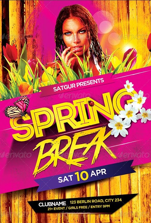 Best Spring Break Party Flyer Template Psd Images On