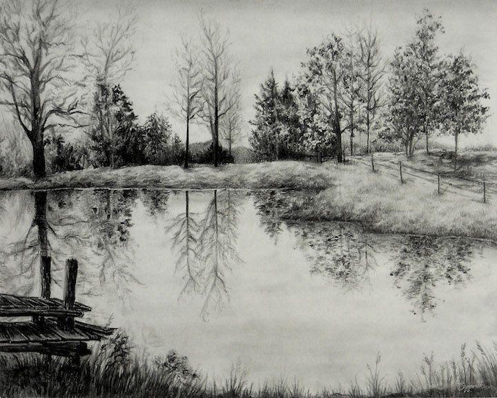 Grandpa S Pond Beautiful Countryside Landscape Mug Zazzle Com Landscape Pencil Drawings Landscape Sketch Landscape Drawings