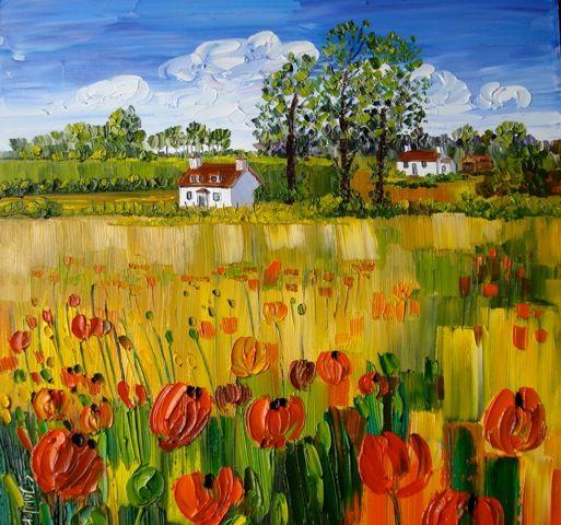 Sheila Fowler_Wild Poppies, Fife_Oils_16x16 | Scottish Contemporary Art