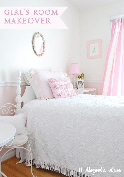 Vintage style décor in this pink and white girls room, along with girls closet organization tips.