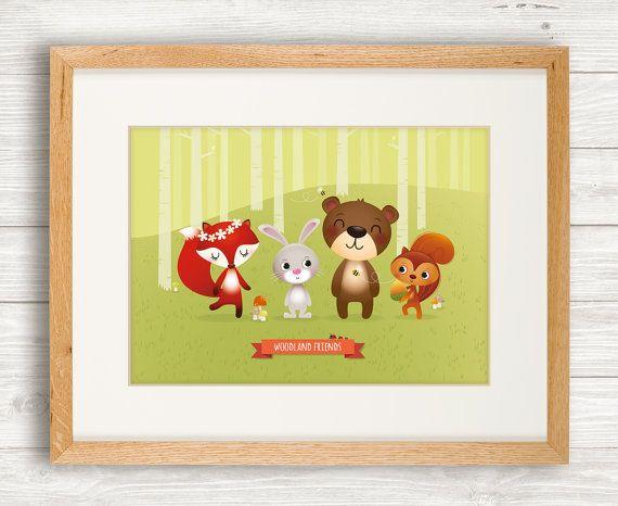 Woodland animals art print, nursery, illustration, animal art, kid's room decor, children art