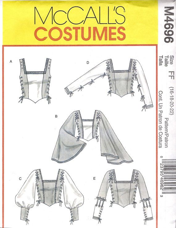 All ready for a Renaissance Fair or Halloween Costume Party: McCalls M4696 Pattern- Renaissance Tops Costume Pattern. Misses Medieval/Renaissance Costume in Size FF(16-18-20-22). Size: FF (16-18-20-22)  Bust: 38-44 inches  Waist: 32-37 inches  Hip: 40-46 inches  McCalls M4696 Copyright 2004    Condition: Pattern is UNCUT with factory folds and original instructions.  Package shows wear at the corners, but in good condition. Pattern is in like-new condition More Vintage Sewing…