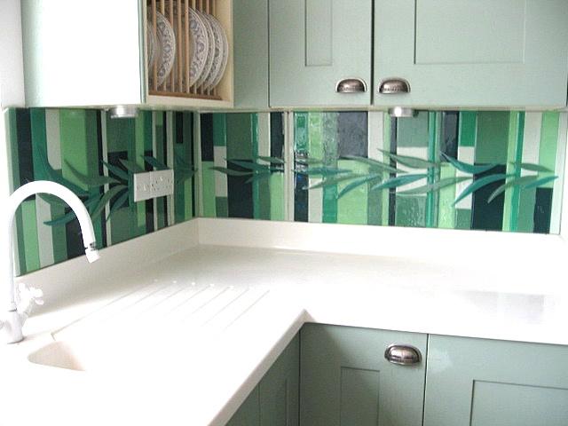 Splashback in fused glass available at Blue Indigo