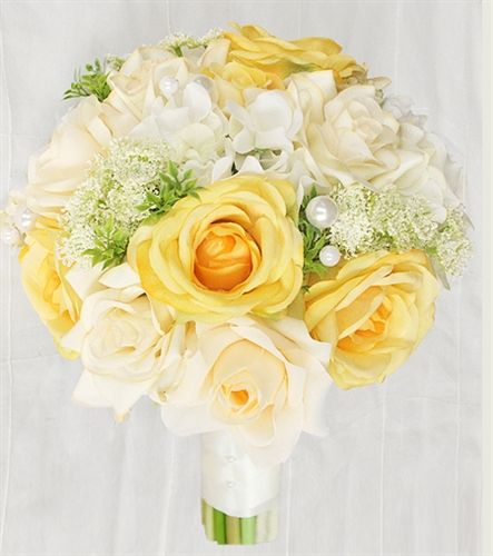 Yellow Roses, Off White Hydrangeas and Roses Bouquet