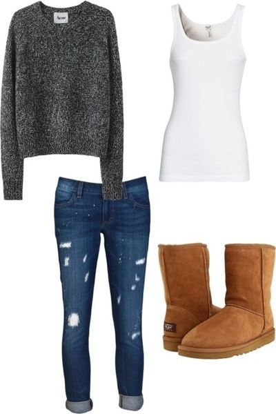 Not a huge fan of distressed jeans or the type of Ugg boots found on preteens, but this does look like a great fall outfit for hanging out or a picnic in the park.