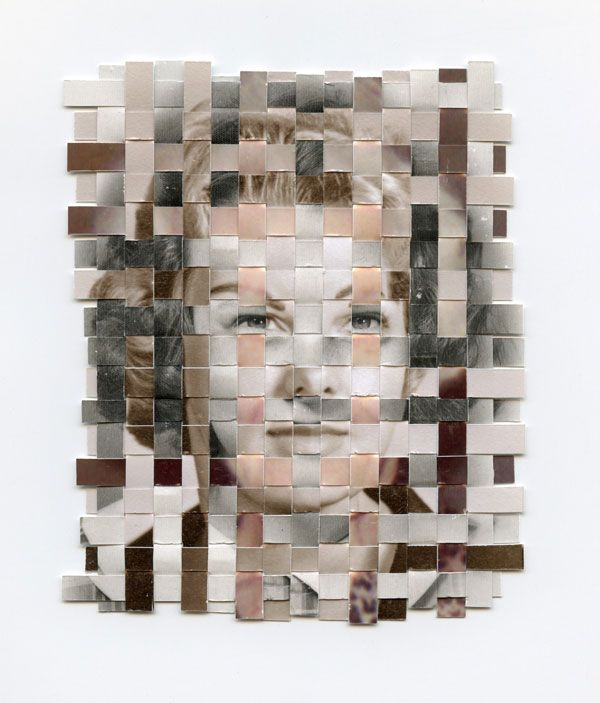 'Remnants' by Greg Sand is a series about recollection and remembrance. Each 'remnant' in the series is composed of three found photos - each from a different point in the subject's life - that have been cut into strips and woven together to form a portrait of a person who has passed away. Remnants uses cloth as a metaphor for memory.