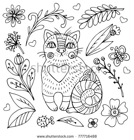Hand drawn vector doodle cat.  Sketch for adult antistress coloring page, tattoo, poster, print, t-shirt, invitation, cards, banners, flyers, calendars