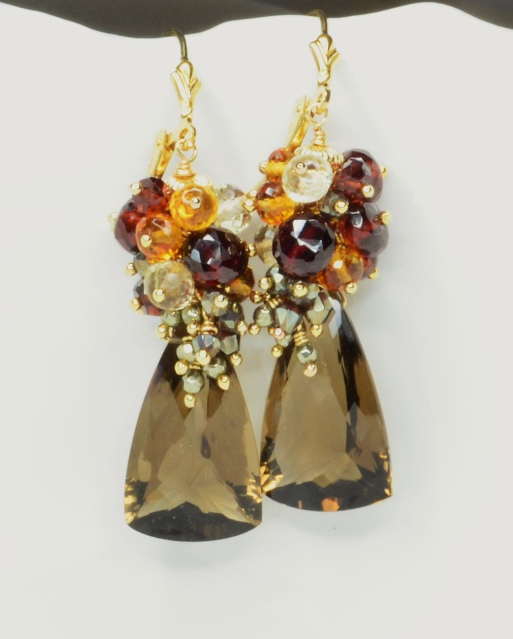 Smoky Quartz, Garnet, Scapolite, Madeira Citrine and Pyrite Lever-back Earrings. $122.00, via Etsy.