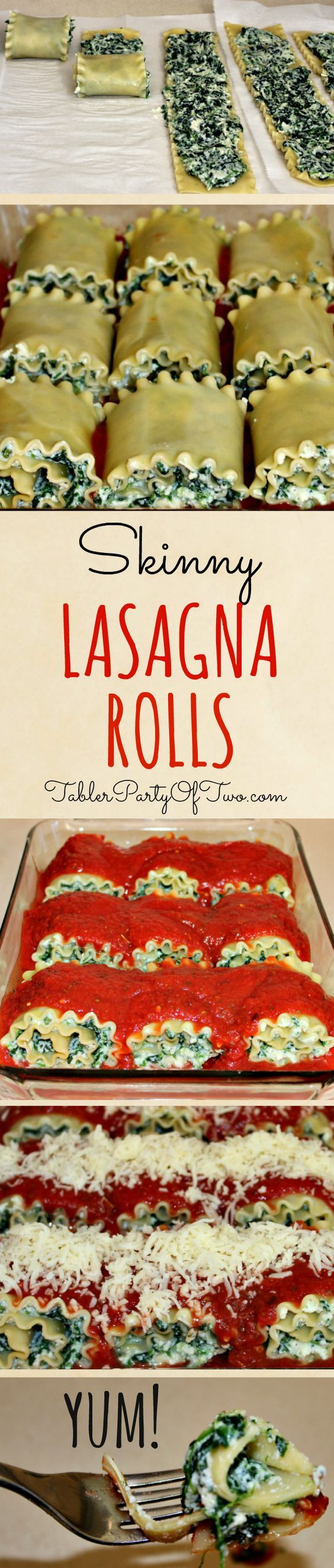 """These Skinny Lasagna Rolls are really easy to make and are a """"no-guilt"""" way to enjoy the guilty pleasure of lasagna! Have one roll with a side of salad for a perfectly healthy dinner! Tabler Party of Two 