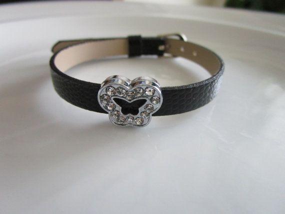 Charm black watch band bracelet for girls  gift by LeeliaDesigns