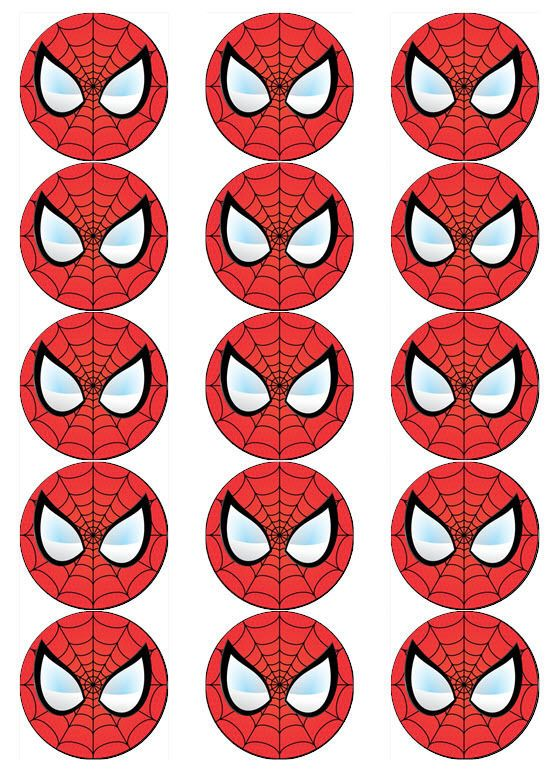 SPIDERMAN FACE V1 EDIBLE WAFER PAPER CUPCAKE POP CAKE MUFFIN TOPPERS in | eBay