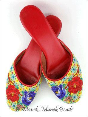 Kasut Manek Bunga Peony : Manek-Manek Beads.