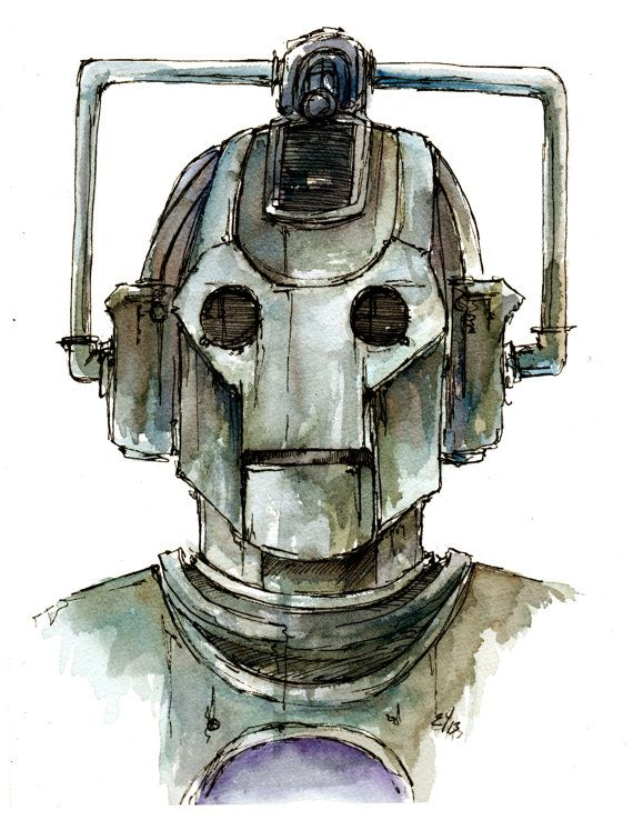 "Doctor Who ""Cyberman"" Fine art print of my original illustration in various sizes"