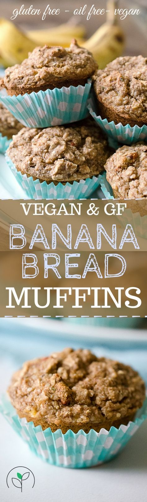 Vegan gluten free banana bread muffins! Plant based recipes. Vegan, gluten free oil free recipes! Vegan muffin recipes.