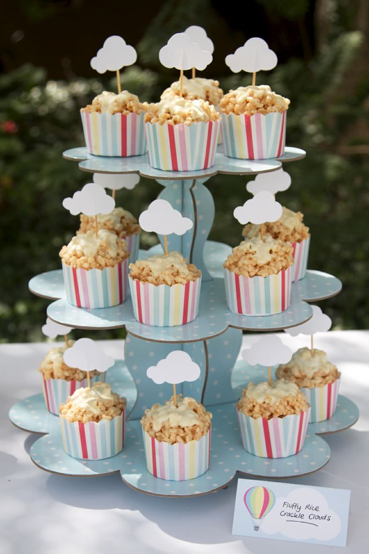 Blue polkadot cupcake stand displaying carnival cupcake papers with cloud cake toppers! Perfect!