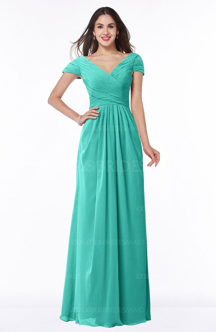 Blue Turquoise Glamorous A-line Short Sleeve Floor Length Ruching Plus Size Bridesmaid Dresses (Style D91410)