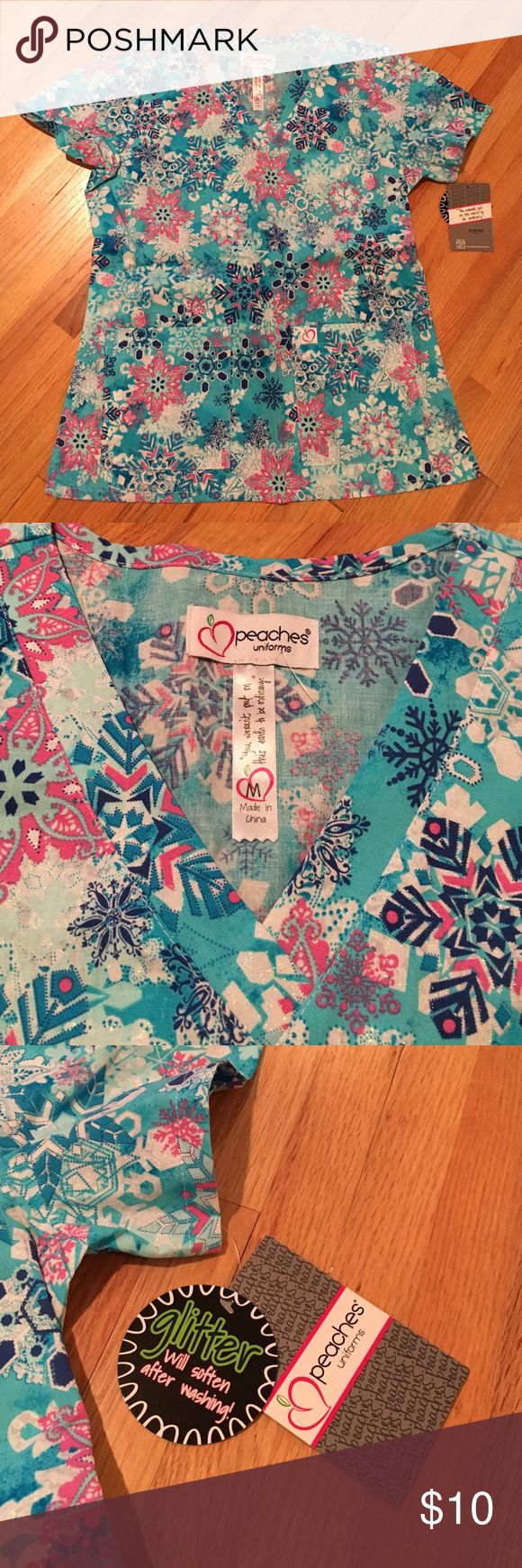 Peaches uniform scrub top New with tags!  Never worn!  Adorable sparkly winter scrub top! Tops