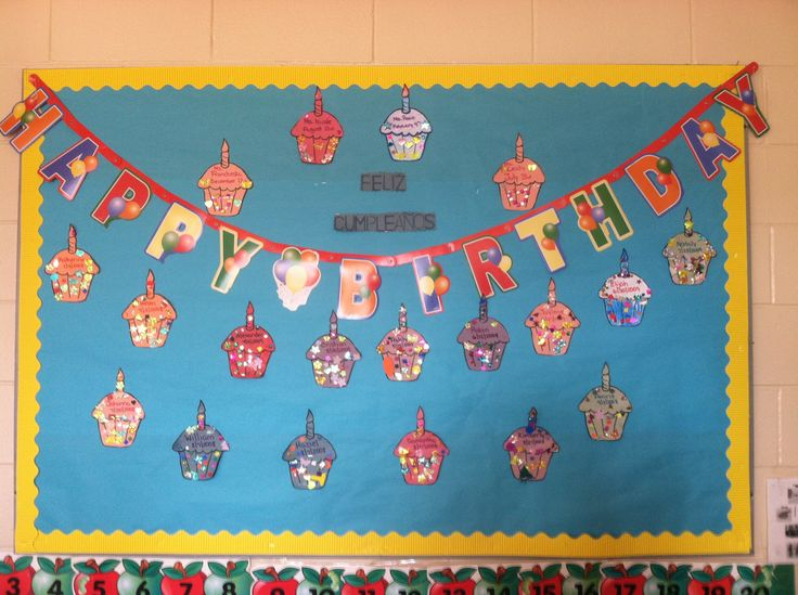 My preschool class birthday board .. Each child decorated their own cupcake and the ones that can, wrote their name and birthdate :)