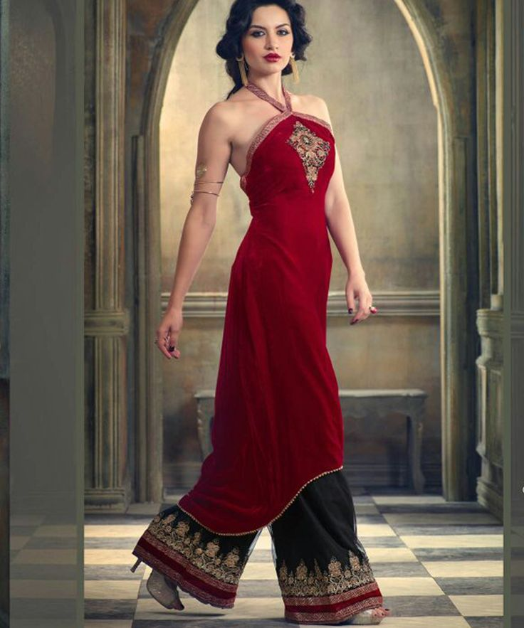 #OnlineShoppingIndia Store sell #Designer Heavy #Embroidered on Velvet With Red Color top And Embroidered on Black Satin Bottom With Chiffon Dupatta semi-stitched #salwar-suit dress materials