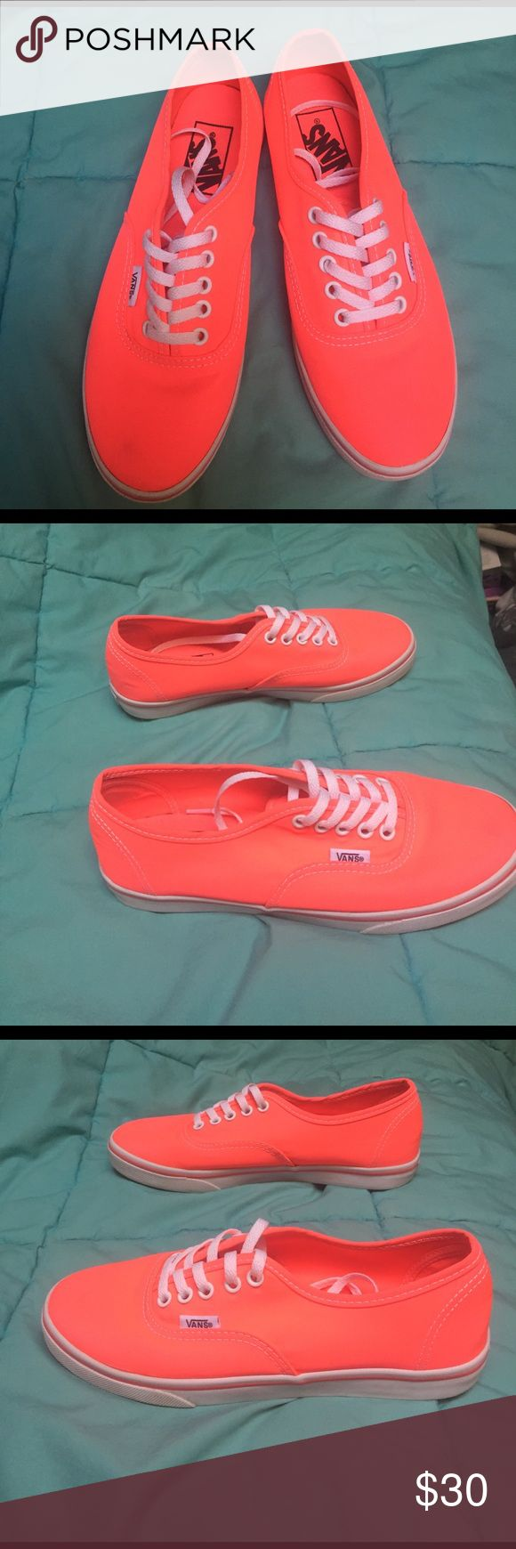 Lo Pro Neon Coral Vans Only ever wore them once, hard to find outfits to wear with them. Super cute! Super comfy! Vans Shoes Sneakers