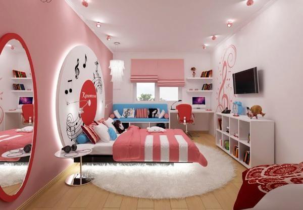 dekoideen jugendzimmer einrichten rosa mädchen musik thema