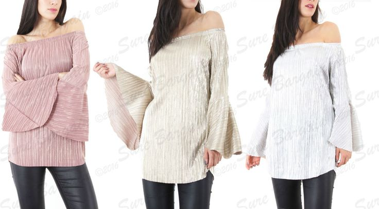 New Ladies Bell Sleeve Off Shoulder Pleated Metallic Bardot Top Size UK 8-14 in Clothes, Shoes & Accessories, Women's Clothing, Tops & Shirts | eBay!