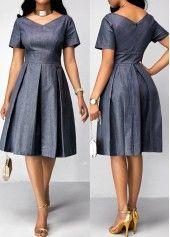Pleated Short Sleeve Band Waist Dress | Rosewe.com - USD $34.60