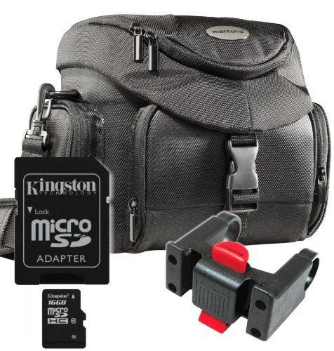 Set Mantona SLR Fahrrad Lenker Tasche schwarz + Original Klickfix Lenker Adapter 211 +Speicherkarte Kingston Micro SDHC 16GB Class 10 (mit Adapter) !