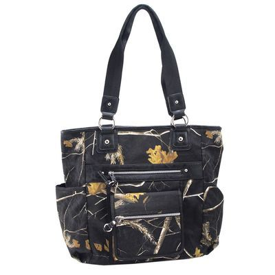 Realtree Black Camo Front and Side Pocket Tote Bag   #Realtreecamo
