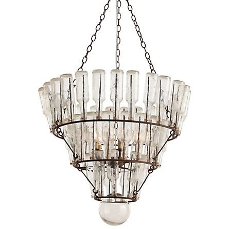 """Message Bottle Chandelier   Tiered iron rings hold vintage-inspired glass bottles aloft to spill warm, fractured light around the room.    - Iron and glass  - 5 lights, 52 bottles  - Hardwired  - 3' chain  - 25 watt max  - Imported    52""""H, 29"""" diameter"""