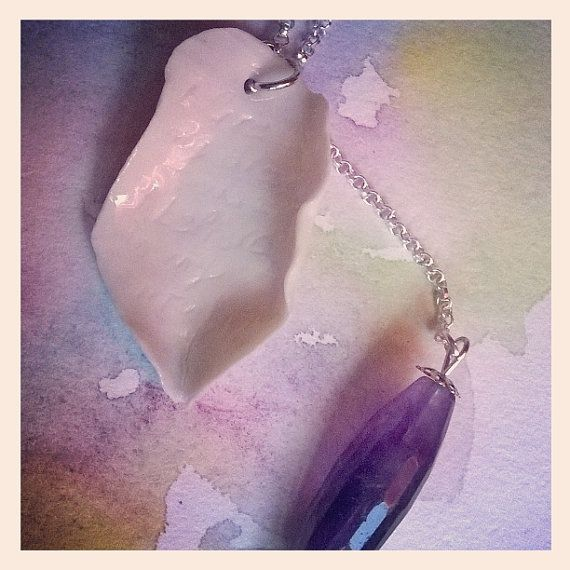 Porcelain necklace Crystal Leaves  Amethyst by IlGiardinodiJull