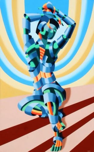 Mandy on the Staircase Abstract Futurism Oil Painting Artist -- Mark Adam Webster