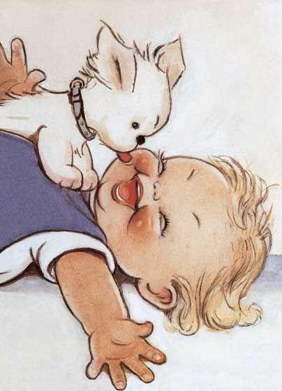 Adorable illustration d'un bébé riant, tandis que son petit chien lui lèche le visage.