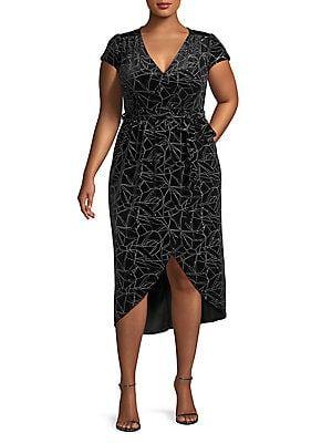 1a1062553f3 QUIZ CURVE Plus Glitter Velvet Wrap Dress Wrap dress featuring geometric  pattern in a glitter velvet