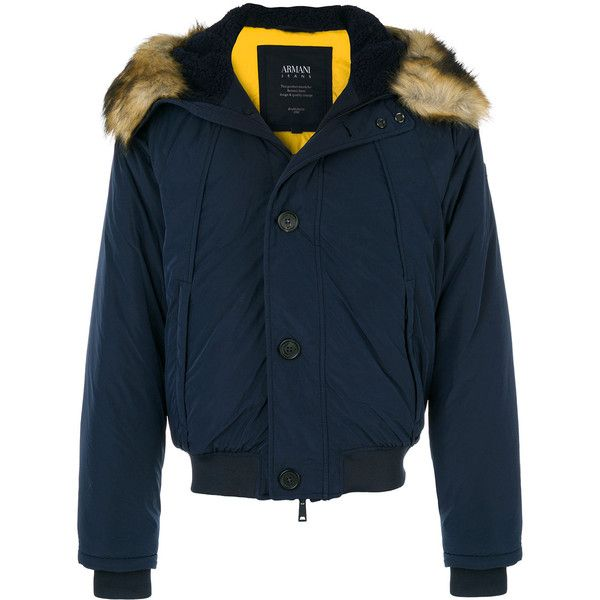 Armani Jeans faux fur trim hooded jacket ($480) ❤ liked on Polyvore featuring men's fashion, men's clothing, men's outerwear, men's jackets, blue, mens blue jacket, mens polyester jackets and mens padded jacket