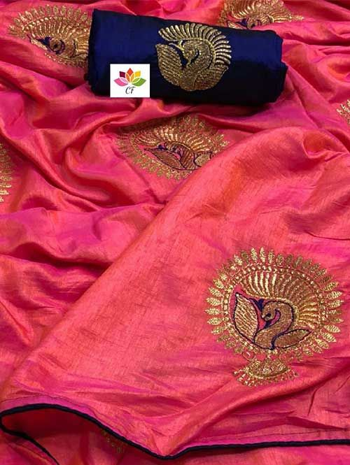 92c6e016b Beautiful Embroidered Two Tone Sana Silk Saree in 8 Colors   Visit Now :  www.grabandpack.com. Free shipping only in India  Contact us/whats app us  on : +91 ...