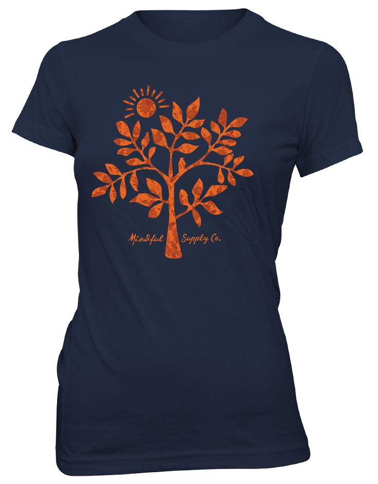 Folk Tree Navy Women's T-Shirts Made in the USA