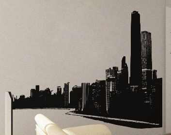 Modern City Scape - Wall Decal Vinyl Decor Art Modern Removable Sticker Mural uBer Decals A539 on Etsy, $38.95