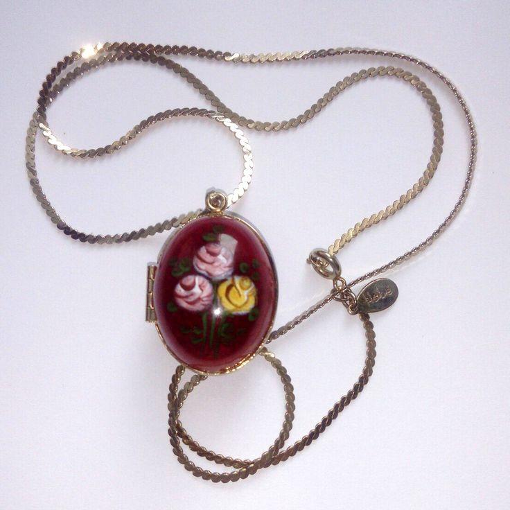 Локет с цепочкой, золотистый тон, цветные эмали, HOBE, 1950-1960