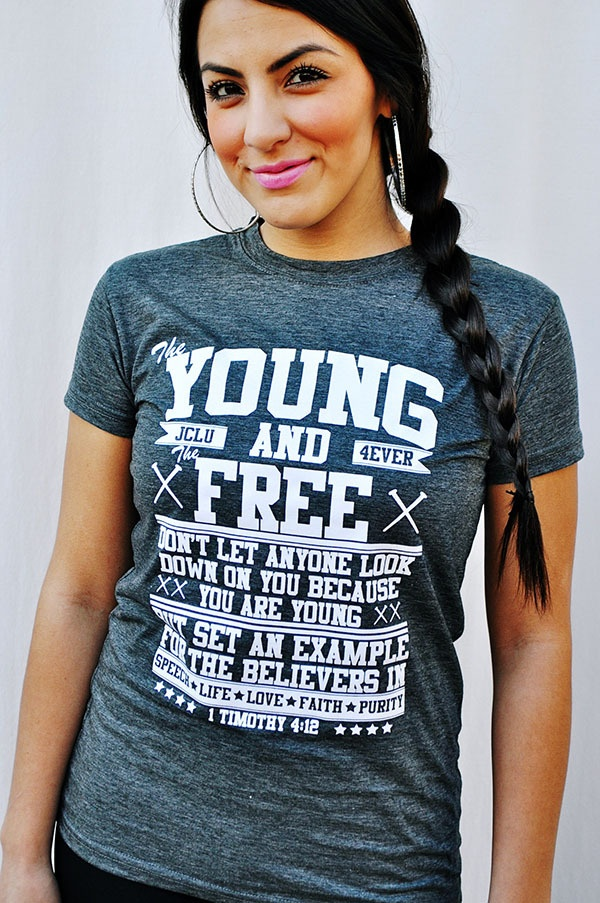 YOUNG AND FREE 1 TIMOTHY 4:12-DARK HEATHER GRAY by JCLU Forever Christian t-shirts $17.99:  T-Shirt, Jclu Forever, Jersey,  Tees Shirts, Christian Tshirt, Clothing Stores, Christian Clothing, Free Samples, Christian T Shirts