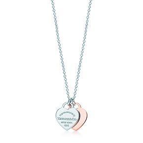 Return to Tiffany™ double heart pendant in RUBEDO™ metal and silver, mini.