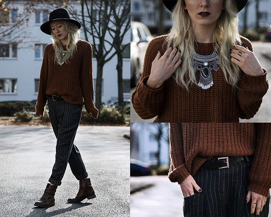 Get this look: http://lb.nu/look/7897264  More looks by Annette  Zer: http://lb.nu/annettezer  Items in this look:  Dressin Aztec Necklace, C&A Knit Jumper, Dressin Striped Chino Trousers, Esprit Black Belt, Primark Black Hat, Deichmann Copper Boots   #bohemian #dapper #grunge #grungechic #preppy #knit #wool #autumn #frankfurt