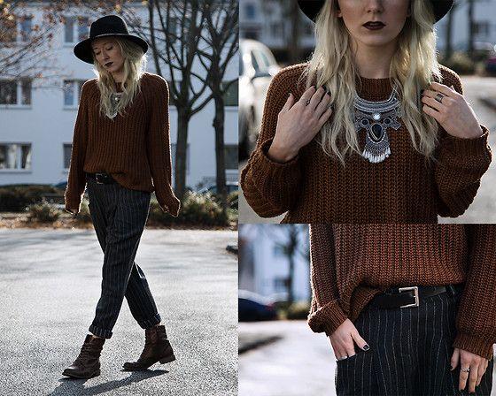 Get this look: http://lb.nu/look/7897264  More looks by Annette  Zer: http://lb.nu/annettezer  Items in this look:  Dressin Aztec Necklace, C&A Knit Jumper, Dressin Striped Chino Trousers, Esprit Black Belt, Primark Black Hat, Deichmann Copper Boots   #bohemian #dapper #grunge #grungechic #preppy #knit #wool #autumn #frankfurt
