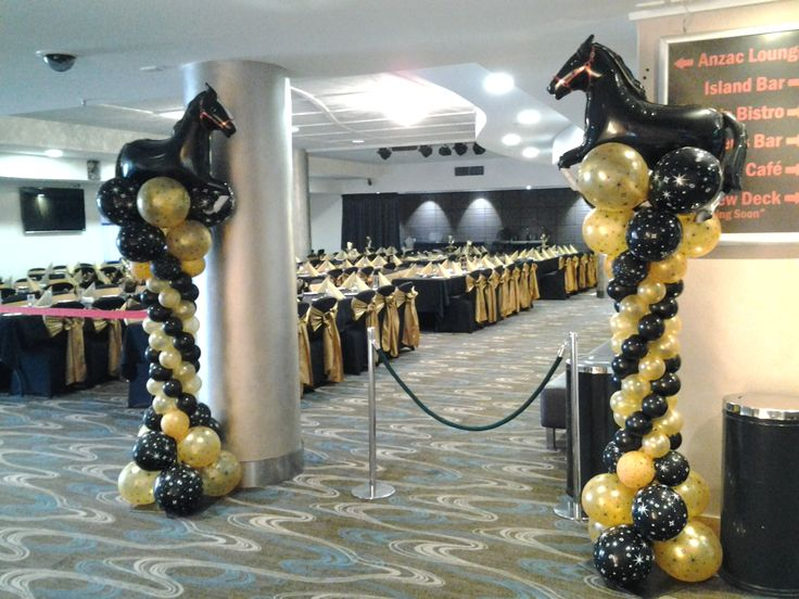 Balloon columns make entrance for Melbourne Cup balloon decor #balloons #melbournecup #horse #love #wow www.astylishcelebration.com.au