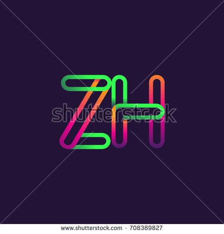 initial logo letter ZH, linked outline colorful rounded logotype