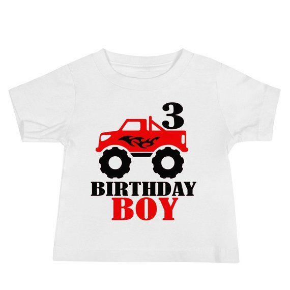 Monster Truck Birthday Shirt Monster Truck Shirt Birthday Boy 3rd Birthday Red Monster Truck T Shirt Design Printed Shirts Truck Shirts Birthday Shirts