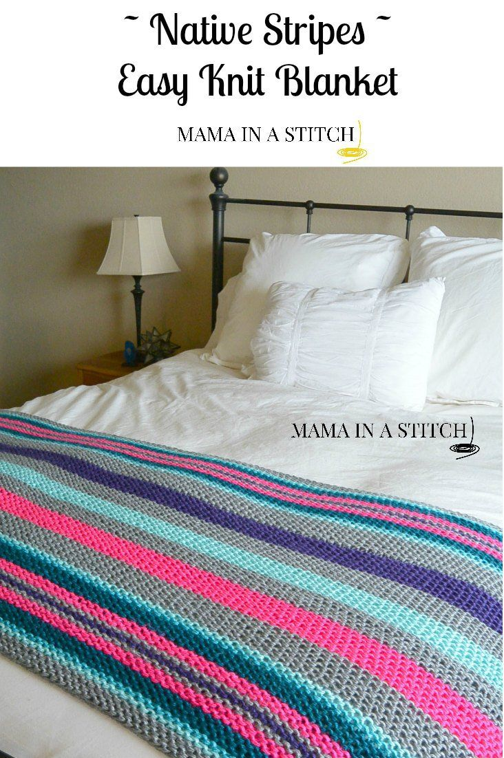 Inspired by striped serape blankets of native Mexico! Very easy, beginner friendly bright knit blanket by mamainastitch.com #freepattern #knitting pattern
