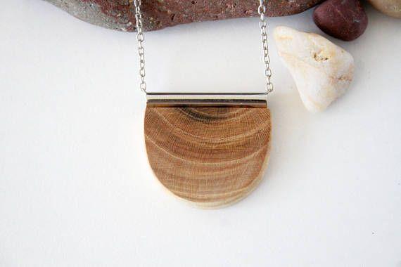Geometric Necklace Wooden Jewelry Boho Bohemian Style Semi