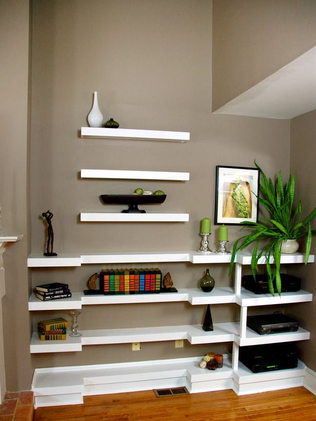 Built In Bookshelves: Wall Colors, Floating Shelves, Decor Ideas, Built In Bookshelves, Decorating Ideas, Interiors Design, Neutral Wall, Wall Shelves, White Shelves